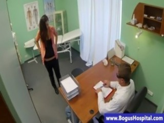 Brunette babe sucks her doctor cocks free