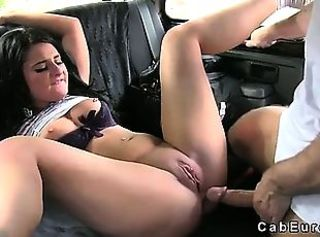 Busty brunette gets fuck and huge creampie in cab