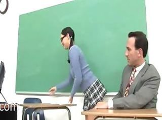 Elegant schoolgirl and her horny teacher