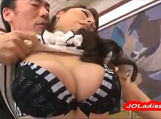 Busty Japanese secretary on touching fat tits pleases her boss