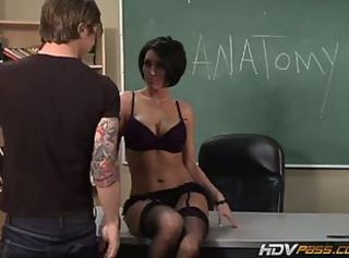 Beautiful MILF babe Dylan Ryder lets student fuck her