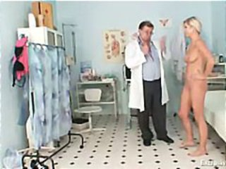 Foxy blond girl vagina gyno checkup