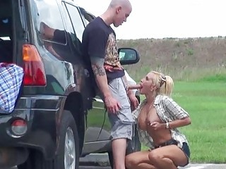 Blowjob Car Clothed Outdoor Public Teen