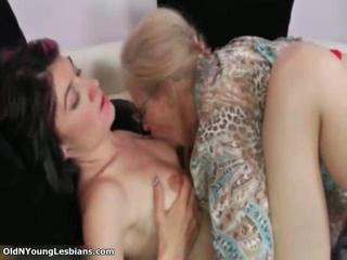 Old and lesbians get horny making
