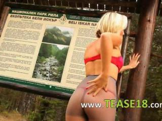 """Blonde babe in pantyhose finger forest"""" class=""""th-mov"""