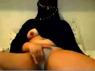 Hijab Wearing Girl Plays With Tits And Hairy Pussy On Cam