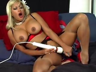 Amazing Big Tits Masturbating  Stockings Toy