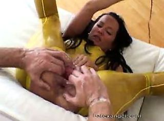 Bizarre mature latex amateur wife extreme anal double fisting and a...