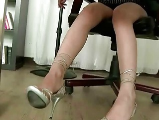 Hot secretary showing off her nice feet