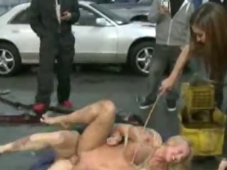 Tied up blond gangfucked by mechanics