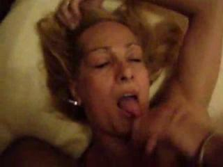 Blond Mature Shemale drinking some man milk