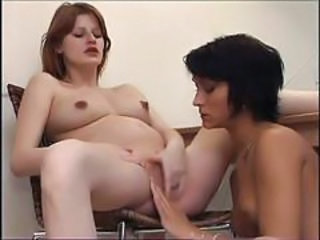 Pregnant chick with girlfriend and dildo