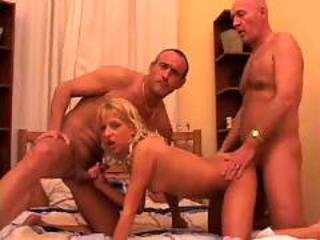 Blonde Daddy Daughter Hardcore Old and Young Teen Threesome