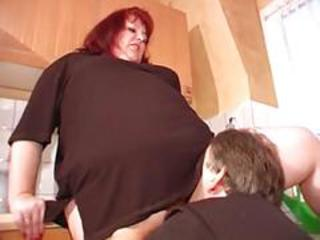 Clothed Licking Mature Older Redhead