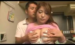 Asian Big Tits Japanese Kitchen  Natural Wife