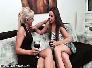 Horny lesbian couple go crazy making out part5