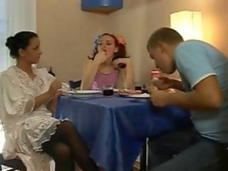 Kitchen Teen Threesome Wife