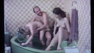 Bathroom Daddy Daughter Family Old and Young Teen Threesome Vintage