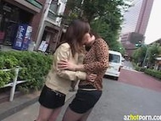 Asian Kissing Lesbian Outdoor Public
