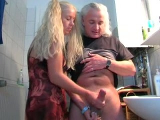 Bathroom Daddy Daughter Handjob Old and Young