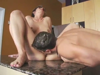 Kitchen Licking Mom Old and Young