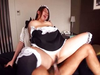 Asian Clothed Japanese Maid Nipples Riding Uniform