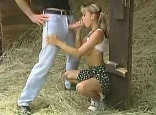 Nice blonde gets deep ramming in all positions in the hayloft.