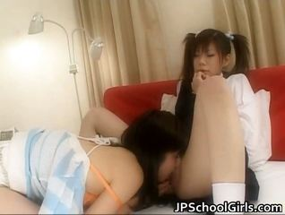 Asian Clothed Japanese Lesbian Licking Pigtail Student Teen Uniform