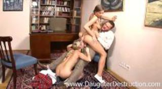 Two blonde daughters hatefucked hard