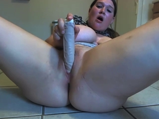 BBW Big Tits Close up Dildo Masturbating MILF Solo Toy Webcam
