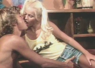 Blonde Kissing Pigtail Teen Vintage