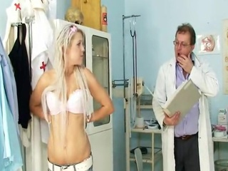 Childlike Nymph Sabina Visiting Her Old Gyno Doctor To Have  Fuzzy Wuzzy Examined