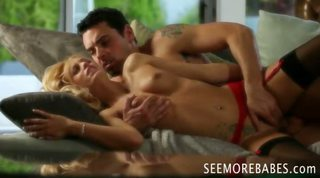 Tempting Blonde Erica Fontes Railed Hard In Her Red Lingerie