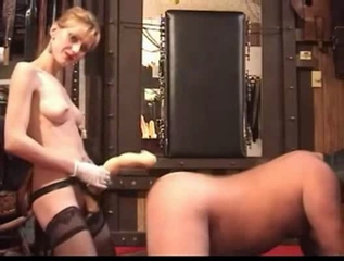 Huge Dildo Anal Session Handjob