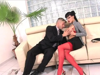 Jessica In Scarlet Stockings Taking It Up Her Rectum