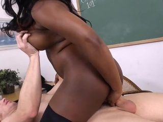 Chubby Ebony Interracial  Riding School Teacher