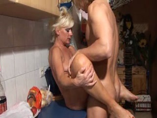Hot Blonde German Granny Banged In Kitch...