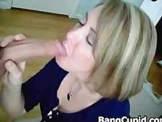 Beautiful MILF sucks cock and gets defaced