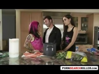 Kitchen Tattoo Teen Threesome