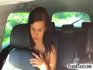 Amateur flashes her big tits and pounded with a taxi driver free