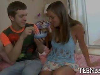 Tiny Russian teen beauty finger fucked
