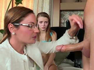 Daughter Family Glasses Handjob  Mom Old and Young Teen Threesome