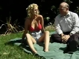 Big Tits Blonde Daddy Daughter  Old and Young Outdoor