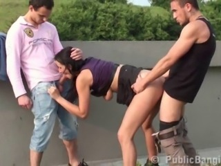 Blowjob Clothed Hardcore Outdoor Public Teen Threesome