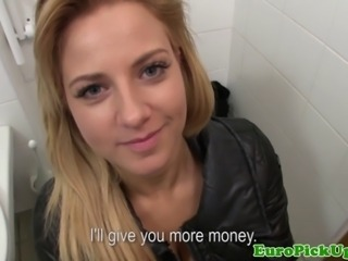 Euro amateur fucking cock for cash from a stranger