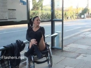 Paraprincess open-air exhibitionism and flashing wheelchair constrained honey...