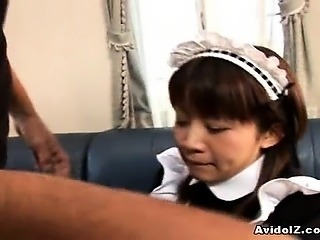 Pretty Japanese maid cleans up her master's tool