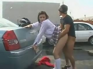 Car Clothed Doggystyle Outdoor Public Student Teen Uniform