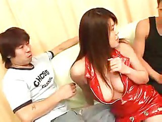 Asian Japanese Latex Natural Threesome