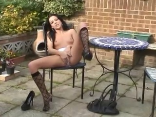 Babe British European Masturbating Outdoor Solo